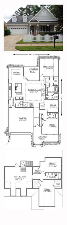 New House Plan 74756 | Total Living Area: 3162 sq. ft., 5 bedrooms and 3 bathrooms. #newplan