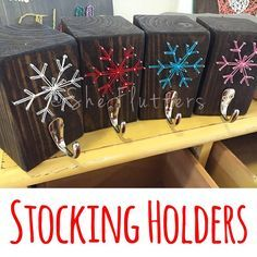 This snowflake Christmas stocking holder string art wooden piece measures 5 x 3.5 x 3.5. It makes an excellent home decorative and practical piece.