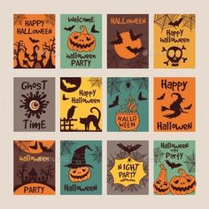 SUMGAR Happy Halloween Decor Gifts Wall Art Prints Jack O Lantern Witch Upcycled Paper Posters Set of # home decoration decoration Happy Halloween, Halloween Poster, Halloween Kids, Halloween 2020, Halloween Illustration, House Illustration, Vector Design, Graphic Design, Vintage Halloween Images