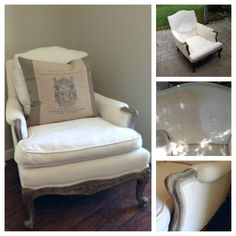 Redo of my French Begere Chair Painted fabric, chalk paint, waxed  on wood, Bleach & added down to cushions & trim