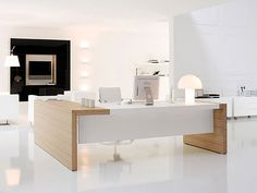 stunning modern home office desks with unique white glossy desk