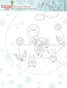 Embroidery Pattern Instant Download Girl and 2 by TamarNahirYanai