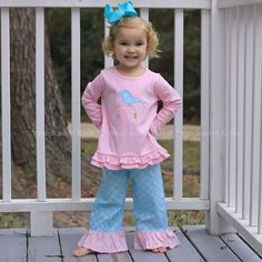 1/8/13   Light Blue & Light Pink Geo Ruffle Pants w/ Light Pink Birdie Top