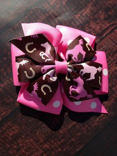 Horse hair bow Pink horse hair bow 4 inch by NorthMomCreations