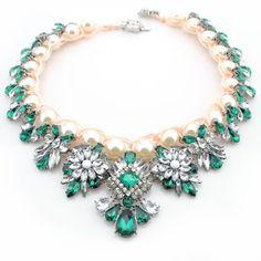 Emerald green Teardrop bead statement necklace bib blogger spring/summer WF130 #Statement