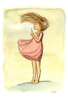 Children's Wall Art Print Windy Sunflower by PhyllisHarrisDesigns
