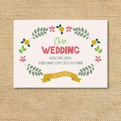 Handlettered wedding invitation