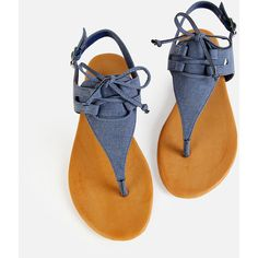 SheIn(sheinside) Denim Thong Tie Sandals DENIM (78 BRL) ❤ liked on Polyvore featuring shoes, sandals, blue denim shoes, sling back sandals, blue slingback shoes, bow shoes and bow sandals