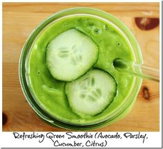Refreshing Green Smoothie: Cucumber, Parsley, Avocado, and Citrus. Plus, 10 Green Vegan and Raw Recipes.