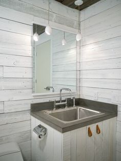 Going for a white washed wall look in my guest bath.  Need to find some tiles that look like this!  34 Relaxed White Wash Wood Walls Designs | DigsDigs