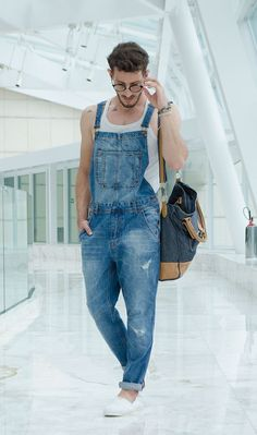 on the go lumbersexual, casual white tank and distressed overalls // menswear style + fashion