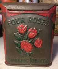 Vintage Four Roses Pocket Tobacco Tin Can Advertising Curved Fancy Top Figural