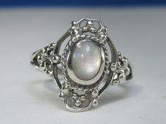 Vintage Moonstone Sterling Silver Filigree Style Ring Size 7.25 by HipTrends2015 on Etsy