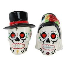 Day Of The Dead Wedding Skulls Salt And Pepper Shakers by Pacific Trad - Inked Shop Sugar Skull Wedding, Dead Bride, Day Of The Dead Skull, Inked Shop, Salt And Pepper Set, Salt Pepper Shakers, Wedding Day, Wedding Bride, Wedding Stuff
