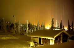 Thin, colorful ice pillars appear in the night sky above Ruka, Finland. This stunning visual phenomenon occurs when light reflects off horizontally-faced ice crystals hovering in the air. The pillars, which are often mistaken for UFO sightings, are produced by sunlight, moonlight or artificial man-made light situated along the horizon.