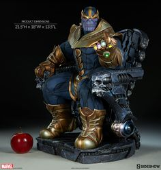 Rule universe with Marvel Thanos on Throne Maquette crafted by Sideshow Collectibles. Highly detailed museum-quality statue that took 2 year to design. Thanos Marvel, Adam Warlock Marvel, Marvel Vs, Marvel Heroes, Marvel Comic Character, Marvel Characters, Marvel Statues, Figure Photo, Anime Figurines