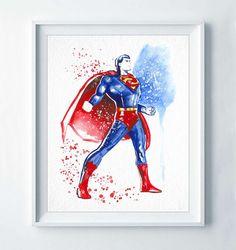 Superman Print Man of Steel Super Hero Watercolor Modern