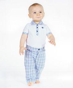 Look what I found on #zulily! White Piqué Bodysuit & Blue Plaid Poplin Pants #zulilyfinds