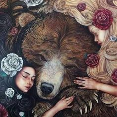 Snow White and Rose Red (original) - Kerry Darlington - one of my FAVORITE fairy tales, and hard to find (im thinking of when Aslan died in Narnia and Lucy and Susan huged him) Kerry Darlington, Fairytale Art, Bear Art, Pics Art, Art Inspo, Red Roses, Fantasy Art, Fairy Tales, Art Photography