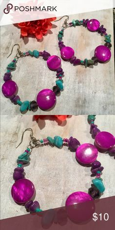 """MY STYLE Purple Bead Turquoise Chip Dangle Earring NEW ~ MY STYLE EXCELLENT condition! ~ Purple beaded ~ Turquoise chip ~ 2"""" hoop silver tone metal ~ 3"""" overall length Item #: 1680 My Style Jewelry Earrings"""