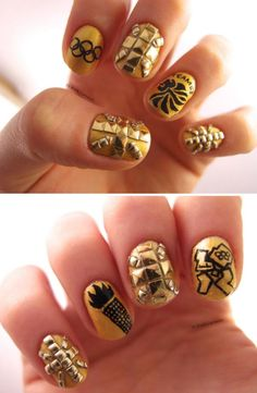 Gorgeous gold Olympic nails by @Jenny's Nail Art