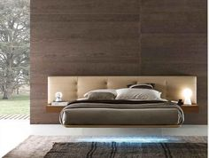 Wing suspended bed showing Capitaine headboard and LED lighting