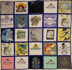 "This bright, fun fishing quilt is our ""catch of the day"" !    25 Square Quilt with Royal Blue backing and sashing"