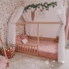 """""""Dream girl room."""" Girl Room, Baby Room, Bed Without Slats, Kids Bed Frames, Teepee Bed, Painted Beds, Toddler Furniture, House Beds, Full Bed"""