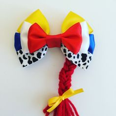 Jessi toy story hair bow by Dreamloveandbows on Etsy Toy Story Birthday, Toy Story Party, Disney Diy, Disney Crafts, Disney Hair Bows, Making Hair Bows, Diy Hair Accessories, Cheer Bows, Girls Bows