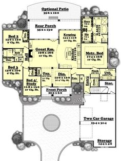 Floor Plan - There's a bonus room above the garage with a full bath.