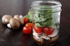 Mason Jar Salad Shakers 2 tablespoons balsamic vinaigrette dressing 3 fresh whole baby portabella or