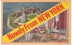 vintage postcards | Adventures on eBay: Vintage Linen Postcards - New York City - Times ...