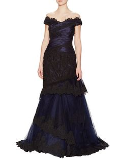 Silk Lace Tiered Gown by Carolina Herrera at Gilt