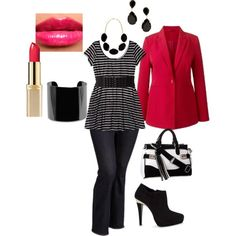 """plus size outfit"" by penny-martin on Polyvore, I'd want a more fitted/shaped blazer though."