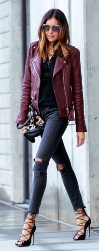 Can't wear those heels but the outfit is stellar..............Fashioned Chic Bordeaux Leather Jacket Fall Inspo