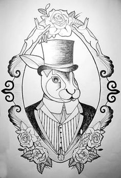 rabbit in bowler hat / drawing