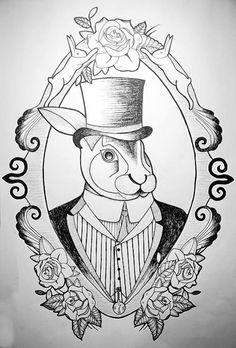 rabbit in bowler hat / drawing