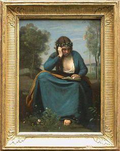 Camille COROT - Liseuse couronnée de fleurs, ou La Muse de Virgile - 1845 - Louvre (thème de la lecture est fréquent chez Corot, qui a aimé peindre des figures silencieuses et absorbées dans leur monde intérieur)