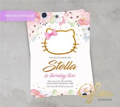 Excited to share this item from my shop: Hello kitty girl baby shower invitation, floral girl baby shower, printable girl invitation, girl cartoon character baby shower invite Printable Baby Shower Invitations, Baby Shower Invites For Girl, Invitation Ideas, Hello Kitty Birthday Invitations, Hello Kitty Birthday Party Ideas, Hello Kitty Baby Shower, Baby Kitty, Kitty Party Games, Hello Kitty Themes