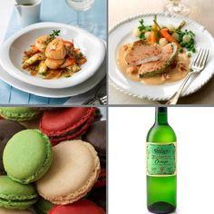 Valentine's Seafood Lovers Complete Menu - Scallops with Fennel; Plaice & Lobster Parcels; Macaroons; Biddenden Ortega Wine