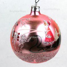 Vintage • Pink  Poland • Christmas Ornament • Santa Sled White Christmas Trees #Vintage #Christmas #BoyntonBoys