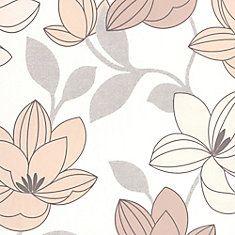 Superflora Natural Beige Wallpaper Cheap Discount Bathroom Pattern