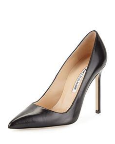 Shop Manolo Blahnik shoes at Neiman Marcus. Get a first look into what's next in fashion with these stark slide sandals and patterned pumps. Bb Style, Manolo Blahnik Heels, Patent Leather Pumps, Fashion Heels, Luxury Fashion, Womens Fashion, Black Pumps, Smooth Leather