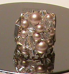 Mink Pearl and Swavorski crystal gold filled wire sculpted ring~  love it