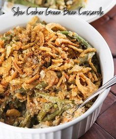 Slow Cooker Green Bean Casserole Recipe ~ Say:  made with fresh or frozen beans, a homemade cream sauce (no cream soup!), cheese, and topped with French's French Fried Onions. This is the best Green Bean Casserole!