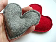 CIJ SALE Pocket Hand Warmers RED Hearts, Eco Friendly Felted Sweater Wool. $10.20, via Etsy.