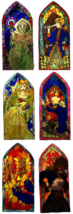 Just a Little Change by comfortablylaura on DeviantArt Disney Stained Glass, Stained Glass Art, Belle And Adam, A Beast, Disney Beauty And The Beast, Just A Little, Texture Art, Fairy Tales, Animation