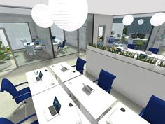 Get true visualization of how your office design ideas with RoomSketcher Photos. Try with different camera angles and viewpoints to create stunning sneak peeks that will convince even the toughest of clients. O Design, Cafe Design, Design Ideas, House Design, Interior Design Images, Interior Design Inspiration, Office Floor Plan, Office Moving, 3d Photo