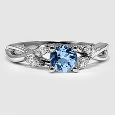 18K White Gold Sapphire Willow Diamond Ring // Set with a 6mm Super Premium Blue Round Sapphire (From Unique Colored Gemstone Gallery) #BrilliantEarth