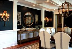 Dark walls with accent millwork, tape detailing on chairs Stunning dining room.black walls, but it still looks open. By Porter Design Casual Dining Rooms, Elegant Dining Room, Dining Room Design, Dining Area, Black Walls, Navy Walls, Dining Room Inspiration, Living Spaces, Living Room